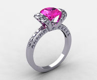 Lovable 18k White Gold Pink Sapphire Ring Royalty Free Stock Photo
