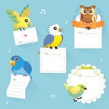 Lovable birds memo collection Royalty Free Stock Images