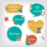 Lovable education related stickers collection set Stock Image