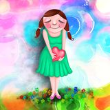 Lovable - Mixed Media Collage Painting. A cute whimsical painting of a young woman holding a heart Royalty Free Stock Image