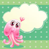 A lovable pink monster with an empty cloud template Stock Image
