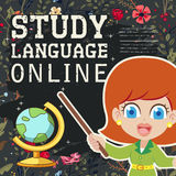 Lovable study language online banner. With chalkboard element Royalty Free Stock Photos