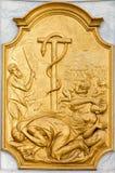 Lovaina - relevo da serpente do tanoeiro e dos israelitas Sint janeiro de Doperkerk. Imagens de Stock Royalty Free