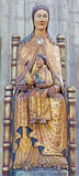 Lovanio - statua policroma neogotica di Madonna nella cattedrale gotica di St Peters Immagini Stock Libere da Diritti