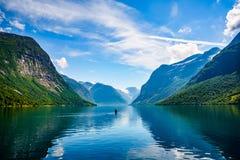 Lovatnet härlig natur Norge för sjö Arkivbild