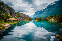 Lovatnet lake Beautiful Nature Norway. Royalty Free Stock Photo