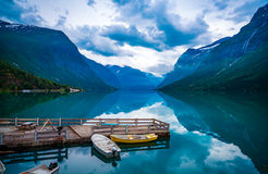 Lovatnet lake Beautiful Nature Norway. Royalty Free Stock Photo