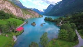 Lovatnet See schöne Natur Norwegen stock video