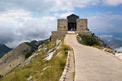 Lovcen Mausoleum Montenegro. Historical mausoleum building of Petar Petrovic Njegos - montenegrin poet and ruler - in mountains of Lovcen, Montenegro bakground Royalty Free Stock Images