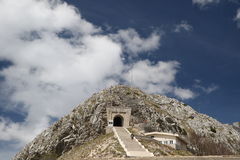 Lovcen Mausoleum Montenegro. Historical mausoleum building of Petar Petrovic Njegos - montenegrin poet and ruler - in mountains of Lovcen, Montenegro bakground stock photos