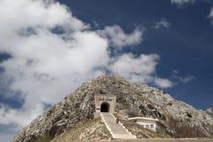 Lovcen Mausoleum Montenegro. Historical mausoleum building of Petar Petrovic Njegos - montenegrin poet and ruler - in mountains of Lovcen, Montenegro bakground stock photos