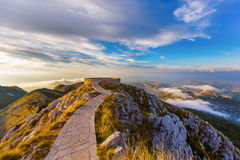 Lovcen Mountains National park at sunset - Montenegro. Lovcen Mountains National park at sunset in Montenegro Royalty Free Stock Photo