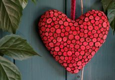 Love. Red heart on green background Stock Images