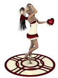 Love is... Beautiful girl with wings holding red heart Stock Images