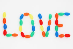Love. Colorful jellybean candy used to write the word 'Love Royalty Free Stock Images