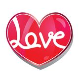 Love. Word on red heart vector illustration isolated over white background Royalty Free Stock Photography