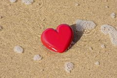 With Love. Valentine heart at the beach Royalty Free Stock Photography