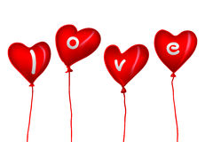 Love. Valentine card with heart balloons stock illustration
