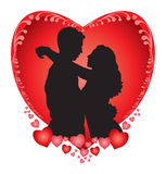 Love. Yang people kissing, red heard,  isolated, illustration Royalty Free Stock Photography