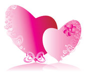Love. The pink hearts symbolising love between the man and the woman Stock Photo