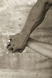 Love. Male and female hands together stock photography