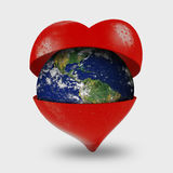Love. The earth in a opened heart Stock Photo