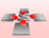 Love. Four peace of puzzle heart vector illustration