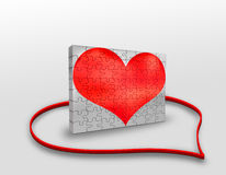 Love. A wall from puzzle heart stock illustration