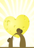 Love. Vector illustration about love. Two mice against a heart from cheese Stock Photography