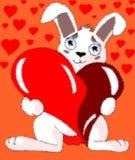 Cartoon bunny with heart Royalty Free Stock Image