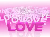 LOVE. Word LOVE in 3D space stock illustration