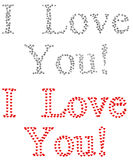 Love. 3d written 'I love you' by using diamonds and hearts on white Royalty Free Stock Photos