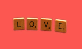 Love. Scrabble tiles spelling 'love royalty free stock images