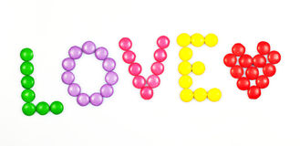 Love. The word love spelled with candy Stock Image