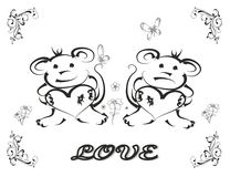 Love. Vector illustration of two monkeys in love Stock Photo
