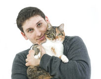 Love. Handsome man with his pet Royalty Free Stock Image