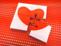 Love. Concept represented by a puzzle nearing completion Royalty Free Stock Images