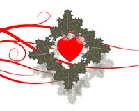 Love. Heart and leafs with red stripes and shadows Royalty Free Stock Image