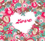 Love. Heart shape greeting card template with lovely birds and floral for your title or message Royalty Free Stock Photography