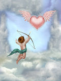 Love. Heart with wings in the sky Royalty Free Stock Images