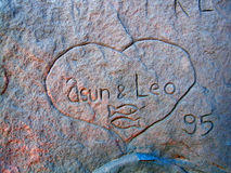 Love. Heart with two names on a rock Royalty Free Stock Photo