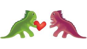 Love. Dinosaur carrying heart to girlfriend Stock Image