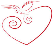 Love. Symbol- heart and dove Stock Images