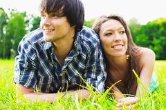 Love. COUPLE SPENDING TIME TOGETHER IN PARK Stock Images