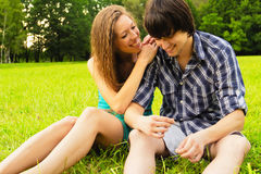 Love. COUPLE SPENDING TIME TOGETHER IN PARK Royalty Free Stock Images