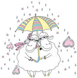 In love. Two sheeps with umbrella falling in love Stock Images
