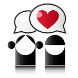 Love. Two people with red heart Royalty Free Stock Image