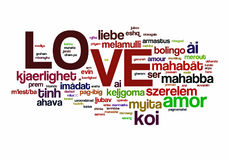 Love. The word love in different languages, with the more widely spoken translation in bigger fonts Royalty Free Stock Images
