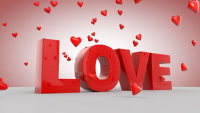 Love. 3D love text with hearts Stock Image
