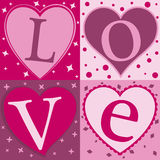 Love. The word love, each letter illustrated in four separate squares of pink vector illustration